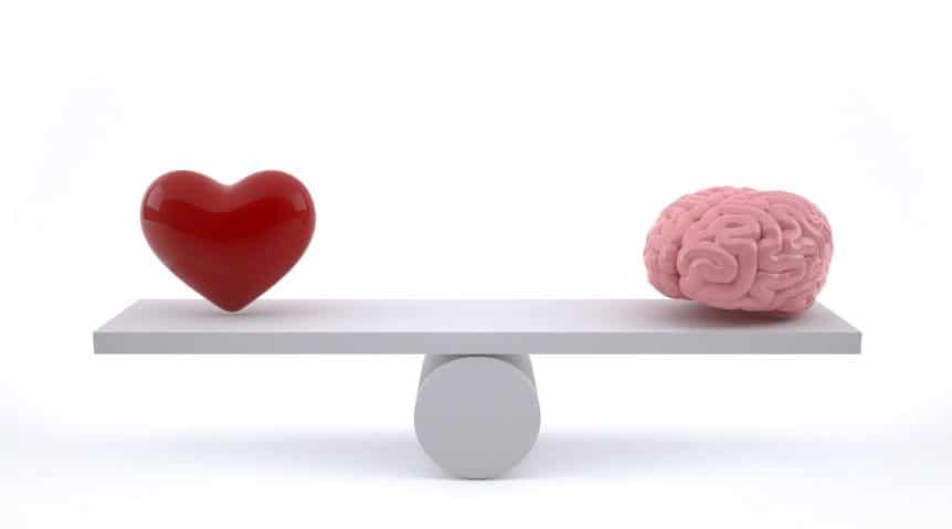Brain and heart on a balance scale